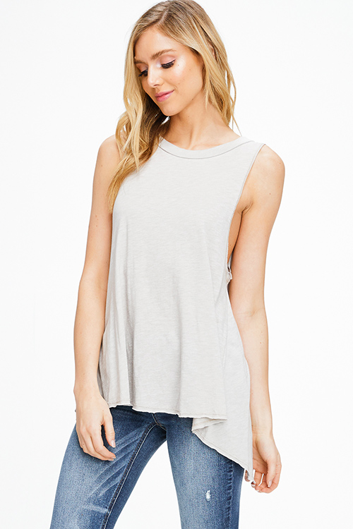 Cute cheap Taupe grey sleeveless round neck surplice back vent boho tank top