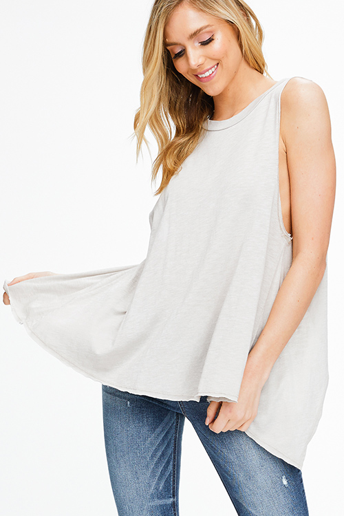 a3401c2174901 Cute cheap Taupe grey sleeveless round neck surplice back vent boho tank top