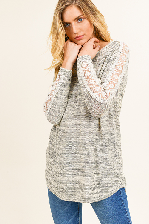 Cute cheap Taupe grey two tone round neck crochet lace trim long sleeve boho sweater knit top