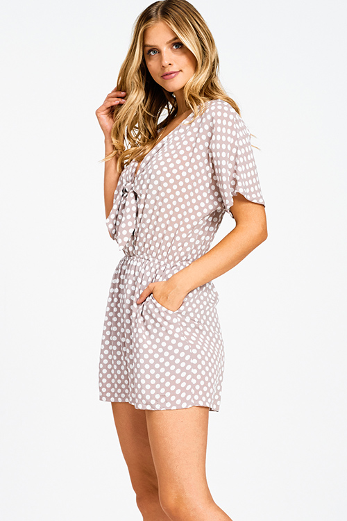 796e9f0340 Cute cheap Taupe polka dot print short sleeve cut out tie front pocketed  boho romper jumpsuit