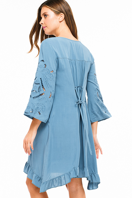 Cute cheap Teal blue laser cut embroidered bell sleeve laceup tie back ruffled boho resort midi dress