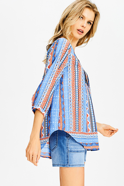 Cute cheap teal blue multicolor abstract ethnic print indian collar boho peasant blouse top