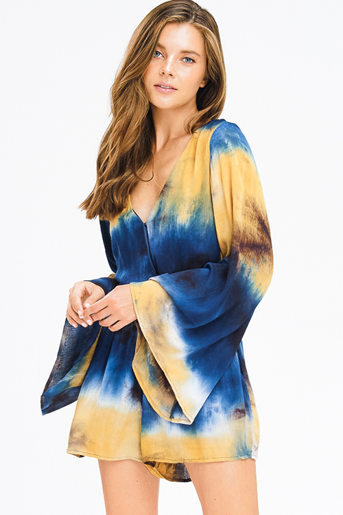 Cute cheap teal blue multicolor tie dye faux wrap long angel bell sleeve pocketed boho romper playsuit jumpsuit