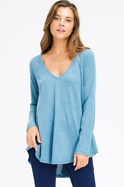 Cute cheap teal blue thermal knit v neck long sleeve boho top