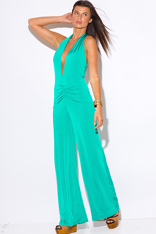 Cute cheap teal green deep v neck ruched backless halter wide leg evening party jumpsuit