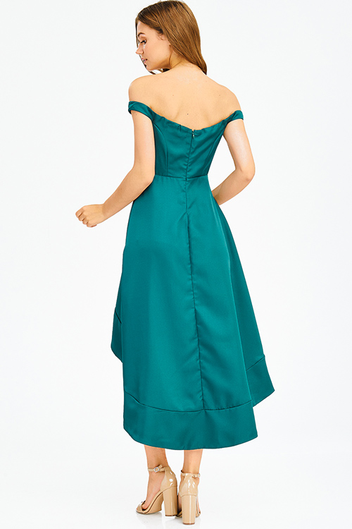 Cute cheap teal green sweetheart neck off shoulder high low hem formal gown evening party dress
