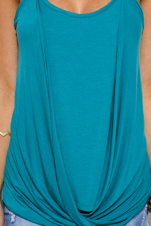 Cute cheap teal tuquoise blue draped twisted front racer back boho tank top
