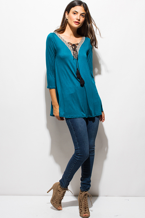 Cute cheap teal turquoise blue embroidered tassel tie quarter sleeve boho top