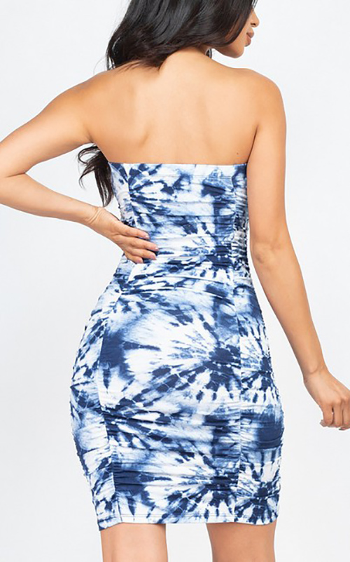 Cute cheap tie-dye printed bodycon mini dress
