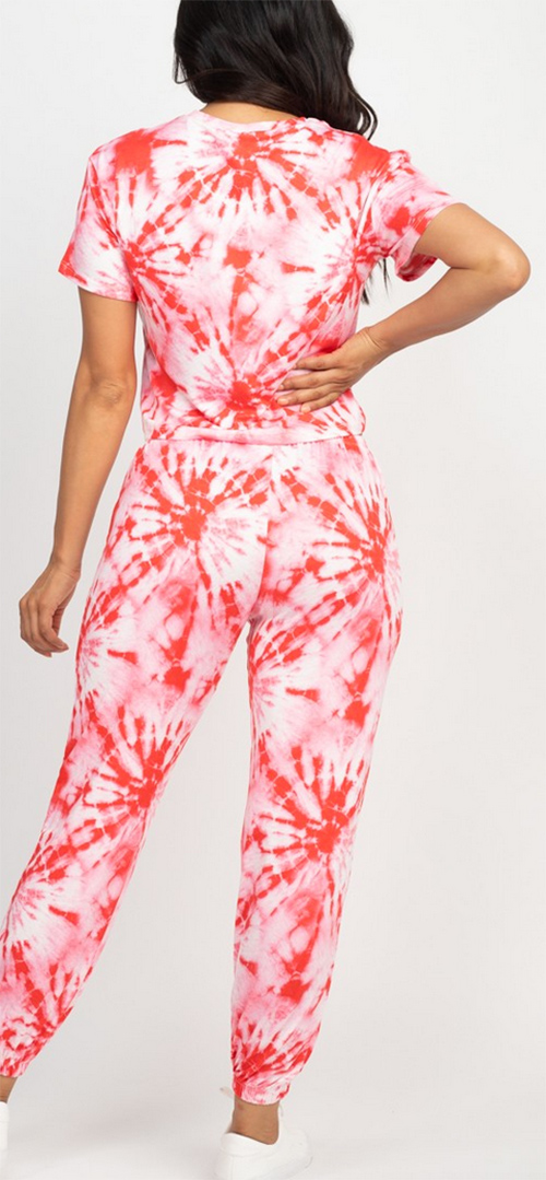 Cute cheap Tie-dye printed crop top and jogger pants set
