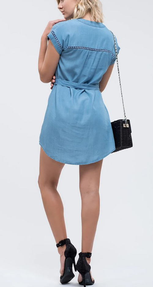 Cute cheap tie front chambray mini dress