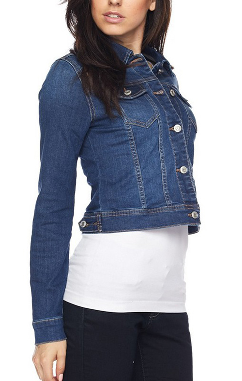 Cute cheap traditional basic denim jacket in stretch denim.