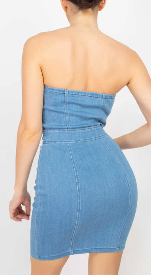 Cute cheap Tube Top Cinched Denim Dress