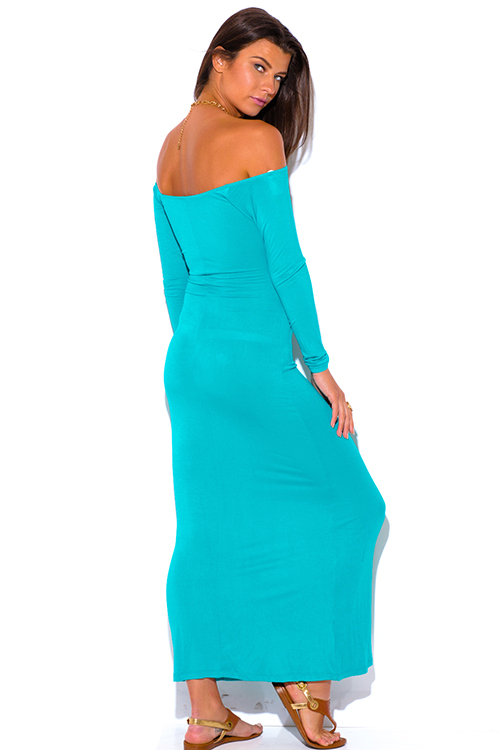 Cute cheap turquoise blue cut out off shoulder long sleeve summer maxi sun dress