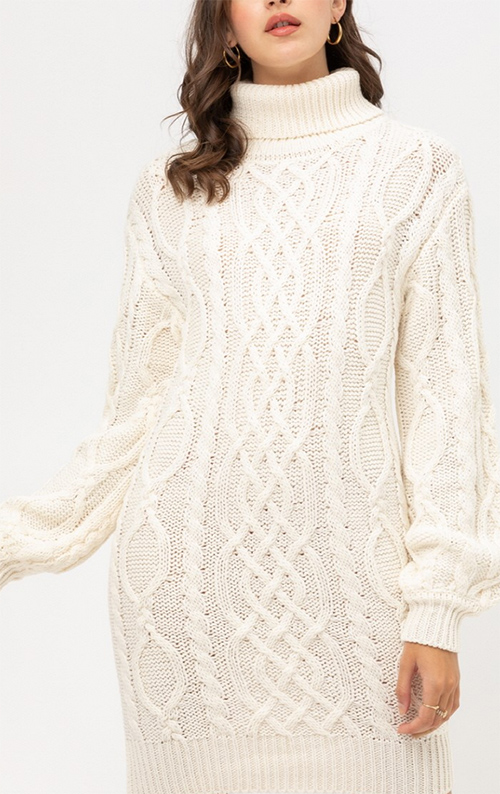 Cute cheap turtle nck sweater dress