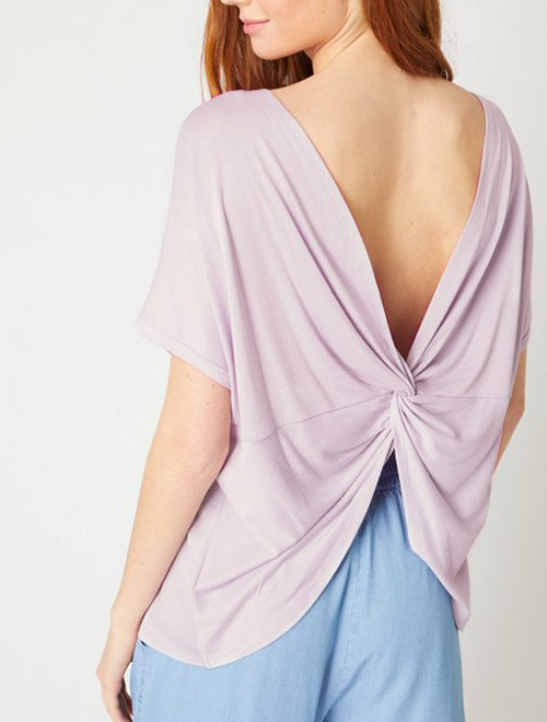 Cute cheap twisted back and open back top
