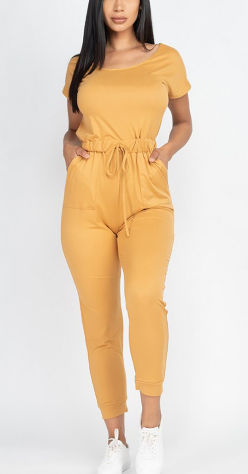 Cute cheap two-way shoulder drawstring jumpsuit
