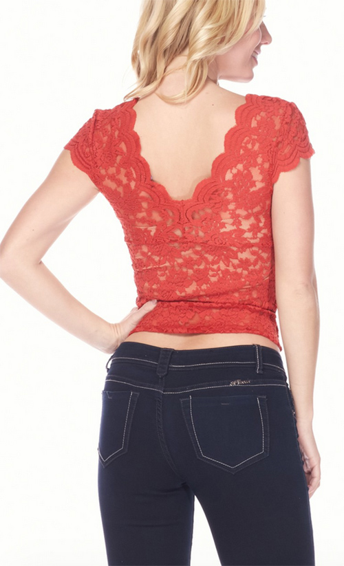 Cute cheap V-neck, short sleeve lace tee