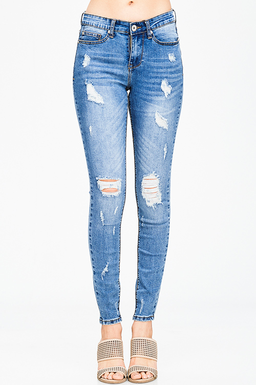 Cute cheap vintage blue washed denim high waisted distressed destroyed fitted skinny jeans