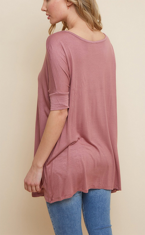 Cute cheap viscose rayon spandex dolman short sleeve top