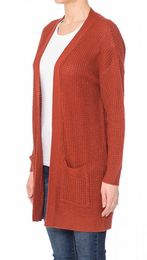 Cute cheap waffle knit pocketed long sleeve open carfigan sweater