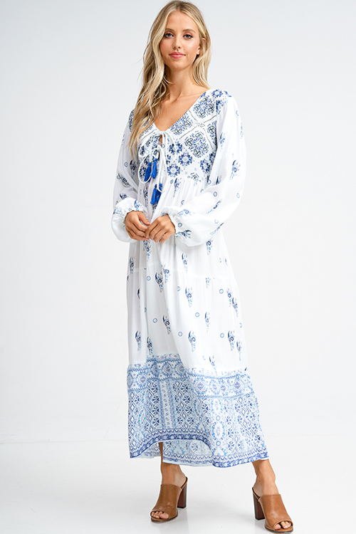 Shop Wholesale Womens White And Blue Ethnic Print Long