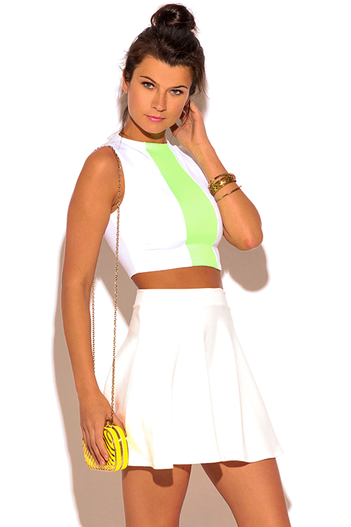 Cute cheap white neon green color block fitted suiting crop top