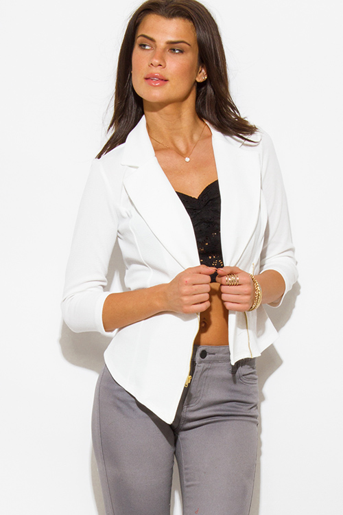 Cute cheap white asymmetrical hem quarter sleeve zip up fitted blazer jacket top