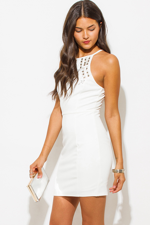 WHITE EMBROIDERED SLEEVELESS HALTER RACER BACK BOHO PEASANT MINI ...