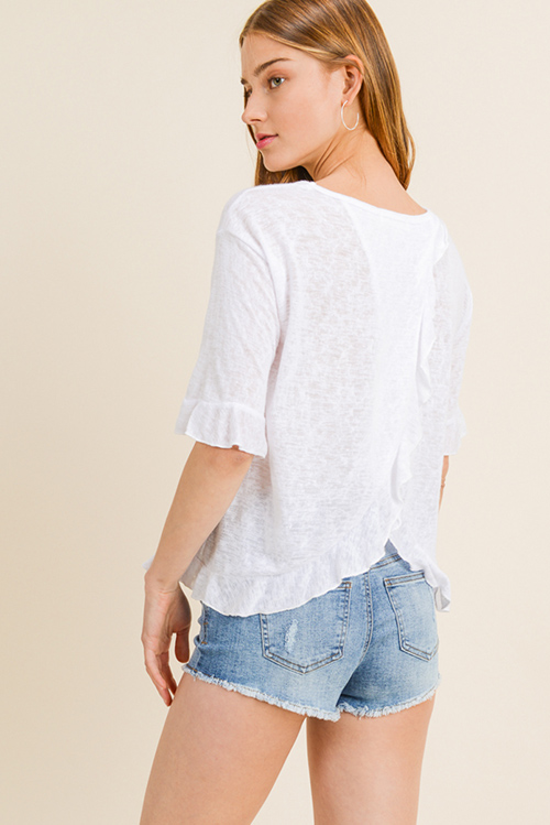Cute cheap White burnout knit ruffled short sleeve surplice back boho top