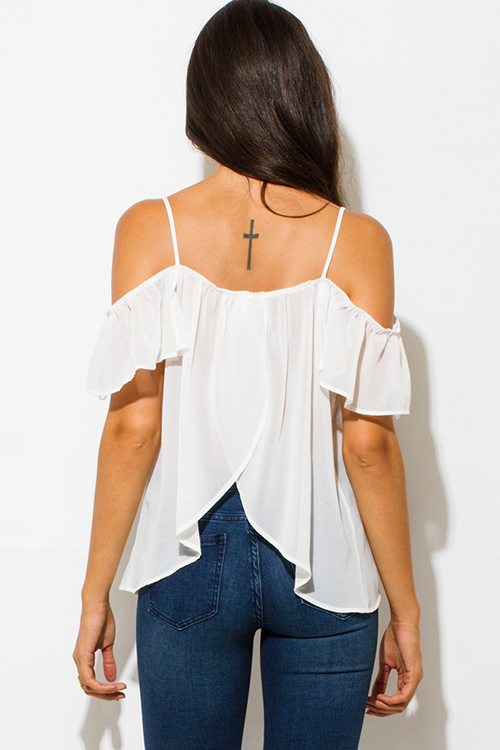 Cute cheap white chiffon cold shoulder ruffle golden button split back boho party blouse top