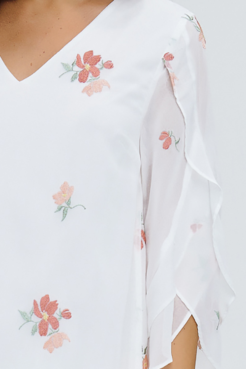 Cute cheap white chiffon embroidered v neck ruffle wide sleeve shift boho mini dress