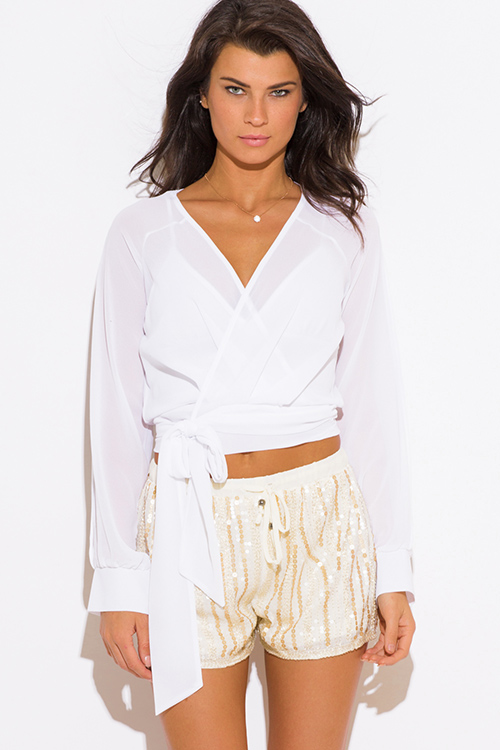 Cute cheap white chiffon slit blouson sleeve wrap front crop blouse top