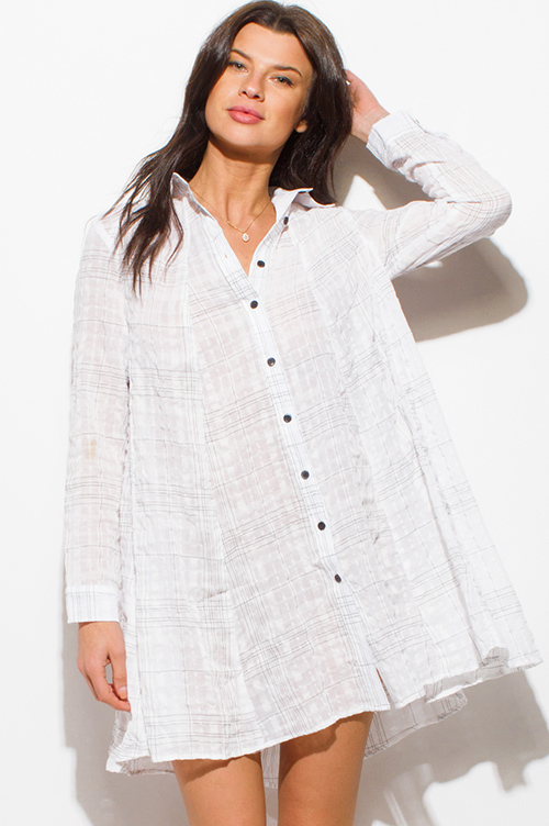 Shop White Cotton Gauze Grid Print Long Sleeve Button Up