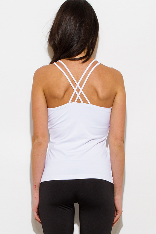 Cute cheap white criss cross back paneled fitted fitness active wear tank top