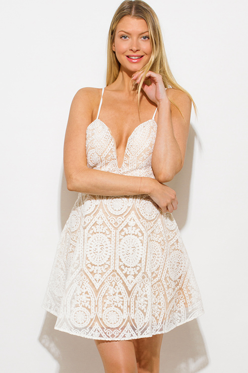 Cute cheap white crochet lace sweetheart neck criss cross backless cocktail party skater mini dress