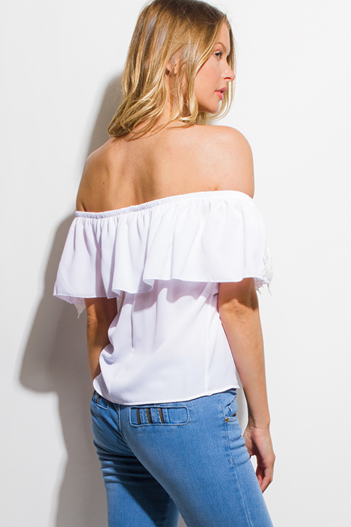 Cute cheap white crochet lace trim ruffle tiered off shoulder boho blouse top