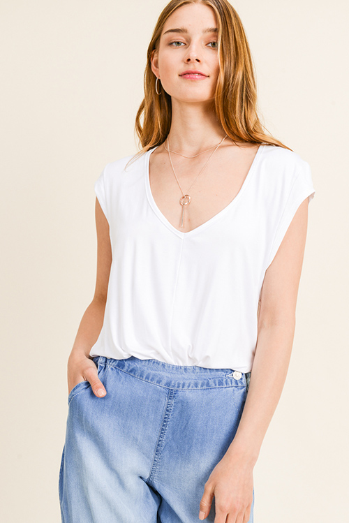 Cute cheap White deep v neck wide cut short cap sleeve bodysuit top