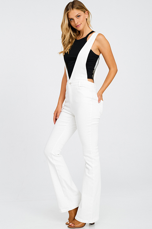 Cute cheap White denim a line high waisted fitted pocketed boho flare overalls jumpsuit