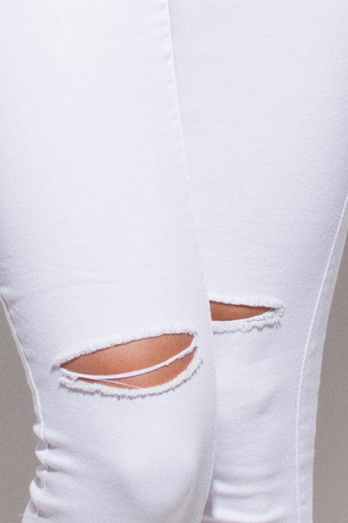 Cute cheap white denim mid rise ripped knee skinny fit ankle jeans