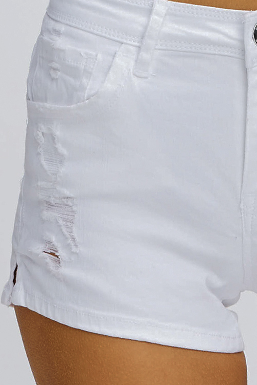 Cute cheap White denim mid rise distressed frayed pocketed side slit jean shorts