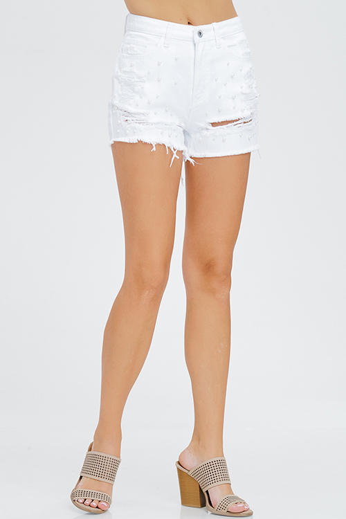 Cute cheap white denim mid rise distressed pearl studded frayed boho cutoff embellished jean shorts
