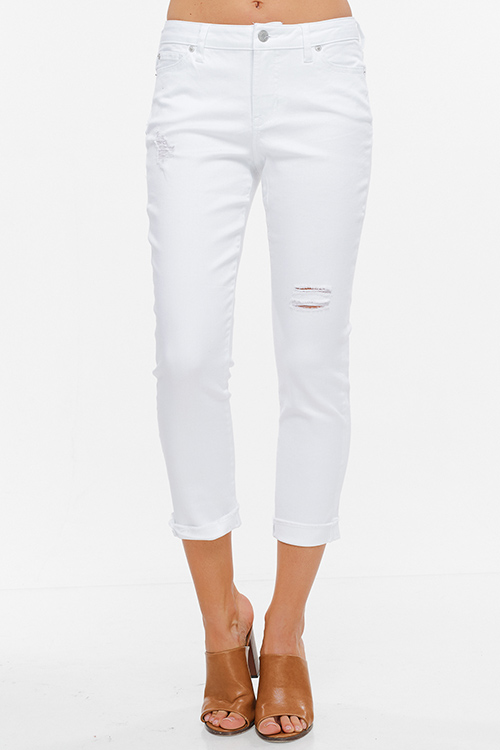 Cute cheap White denim ripped distressed mid rise cuffed cropped hem boyfriend jeans