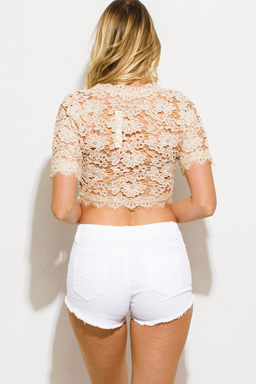 Cute cheap white denim taupe floral embroidered mid rise cutoff boho jean shorts