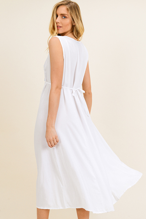 Cute cheap White embroidered applique sleeveless tie waist boho peasant maxi sun dress