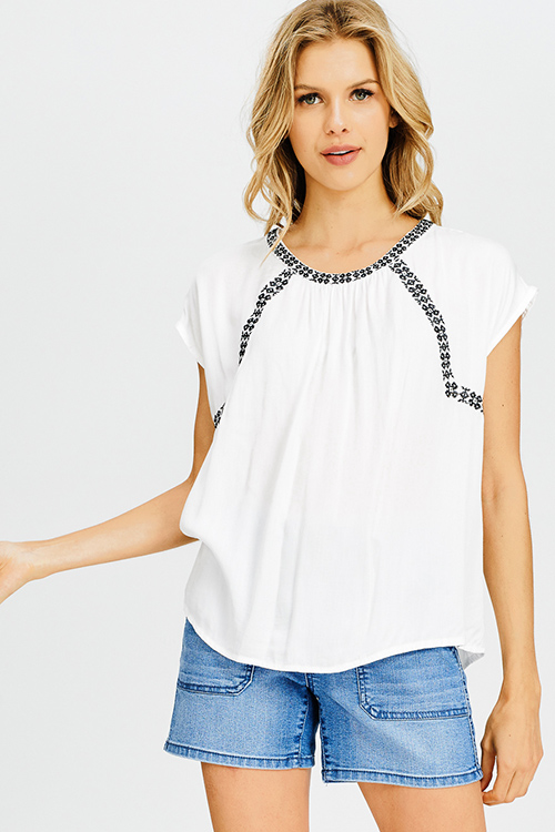 Cute cheap white embroidered short sleeve resort boho peasant blouse top