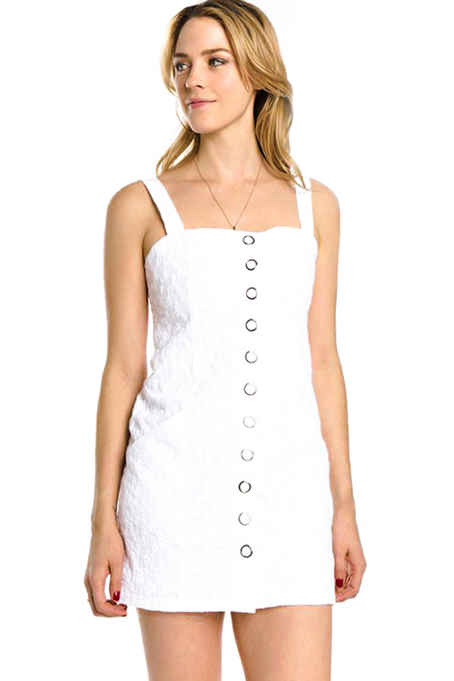 Cute cheap white cotton embroidered sleeveless pocketed button up boho retro mini dress