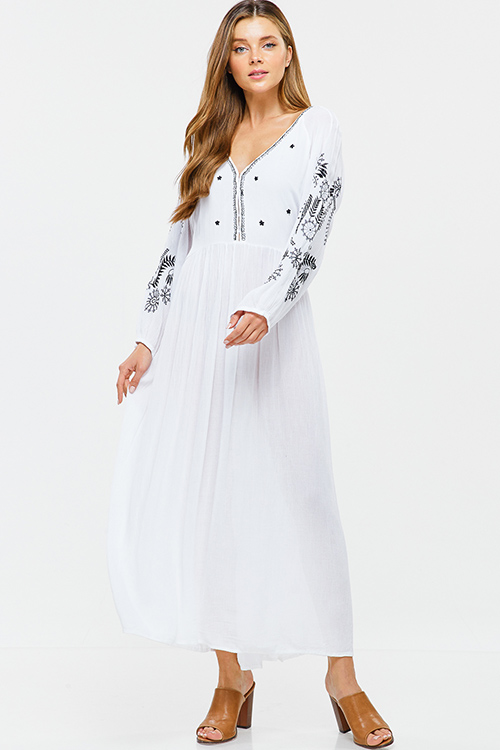 Cute cheap White embroidered v neck tie waist keyhole back boho peasant maxi dress