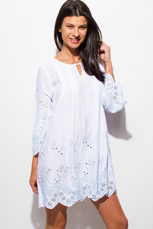 Cute cheap white eyelet embroidered long sleeve scallop hem boho shift mini swing dress