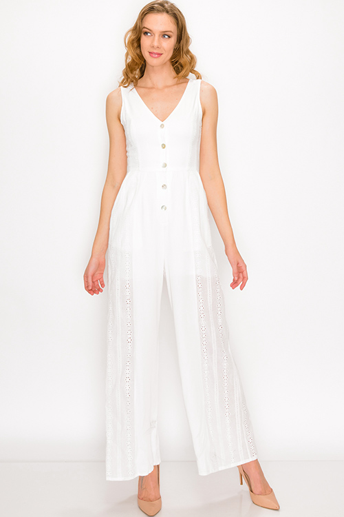 Cute cheap White eyelet embroidered sleeveless button up pocketed boho wide leg jumpsuit